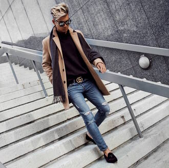 alexander liang blogger shoes coat sweater jeans sunglasses belt scarf menswear camel coat gucci mens shoes mens loafers mens sweater mens coat gucci belt city outfits ted baker asos cos turtleneck sweater h&m