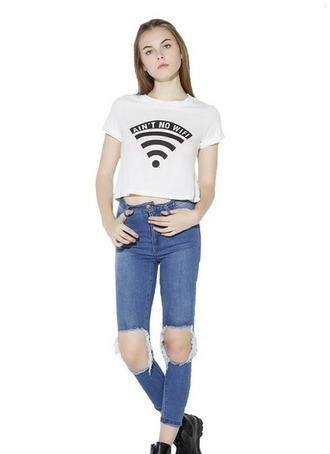 t-shirt wifi wifi print shirt white shirt