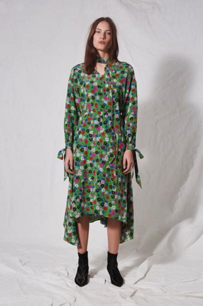 Topshop dress floral green