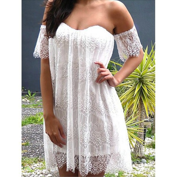 dress white dress white lace dress white lace mini boho boho dress bohemian off the shoulder lace white lace vintage zaful summer summer dress