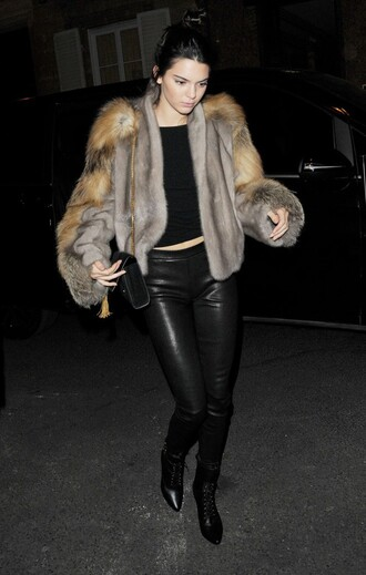 fur jacket fur jacket kendall jenner fashion week purse bag grey fur jacket pants black pants black leather pants leather pants coat