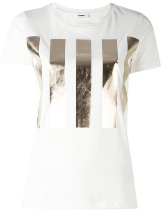 t-shirt shirt high women white cotton print top