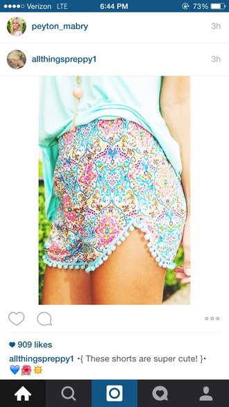 shorts preppy pom pom shorts floral pants bright spring summer shorts cute shorts love it find it please pattern