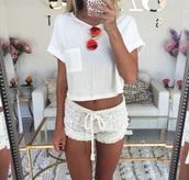 shirt,shorts,t-shirt,home accessory,white lace shorts,white,white on white,tan,summer,pajamas,short,white shorts,floral shorts comfy,crochet shorts,lace shorts