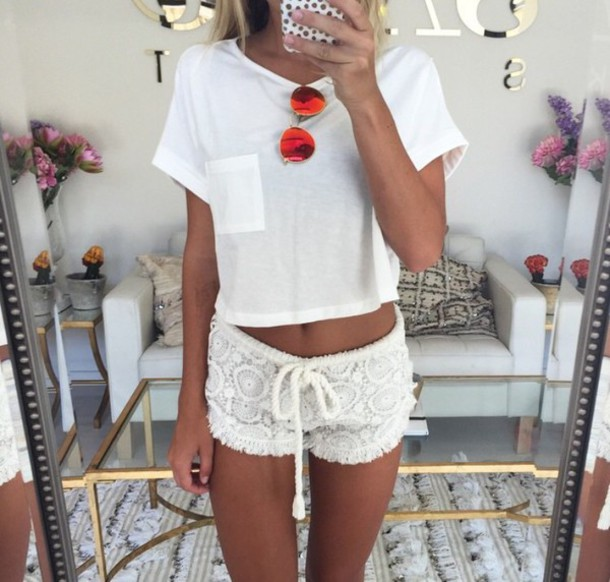 shirt shorts t-shirt home accessory white lace shorts white white on white tan summer pajamas short white shorts floral shorts comfy crochet shorts lace shorts