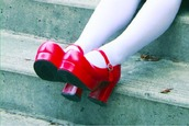 shoes,kawaii,kawaii shoes,red,red shoes,dolly shoes,platform shoes,jfashion,japan,japanese fashion,cosplay