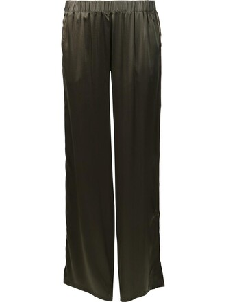 women silk green pants