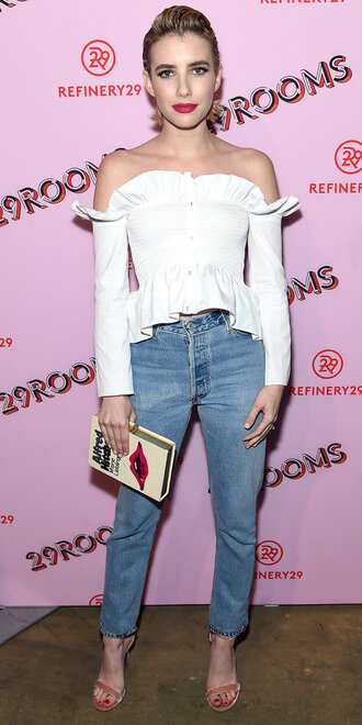 blouse off the shoulder off the shoulder top emma roberts sandals jeans denim clutch