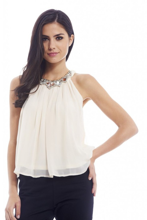 top champagne top champagne chiffon layered chiffon jewel detail jewel neckline flowy top www.ustrendy.com