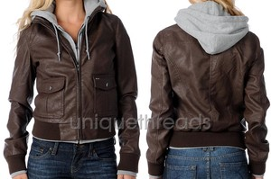 Womens Jealous Lover Brown Heather Faux Leather Hooded Bomber ...