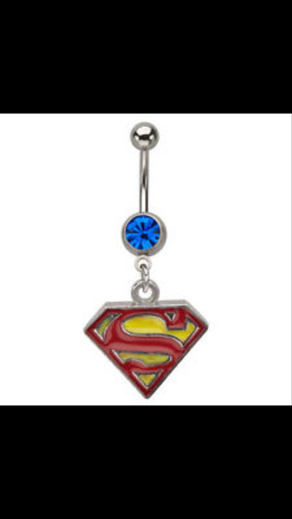 superman blue jewels stone sigh bellybutton ring