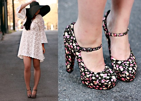 Diya L - Forever 21 Floral Platform Shoes, Lulus Lace Dress, Forever 21 Black Oversized Hat - Crazy hat lady | LOOKBOOK