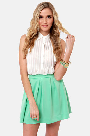 Cute Mint Green Skirt - Mint Skirt - Mini Skirt - Pleated Skirt - $42.00