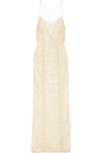 Galvan - Hollywood Paillette-embellished Metallic Tulle Gown - White