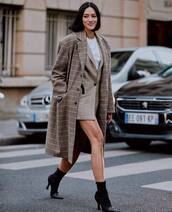 jacket,blazer,check blazer,sock boots,high heels boots,coat,checkered,long coat,white blouse