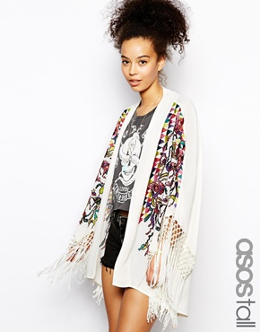 ASOS Tall | ASOS TALL Premium Embroidered Kimono at ASOS