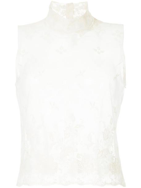 Ann Demeulemeester - lace tank top - women - Cotton - 38, White, Cotton