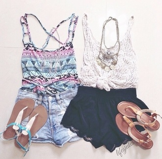 jewels tank top white tank top tribal pattern cross straps shorts accessories necklace aztec top knit top sandals jean shorts black shorts light wash high waisted cute girly outfit hipster outfit idea teen fashion teen style