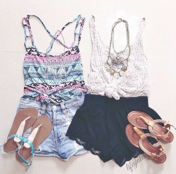 Ootd Cute Clothes Outfit Sandals Tanktops Shorts Tribal White Brown By Bree Whi
