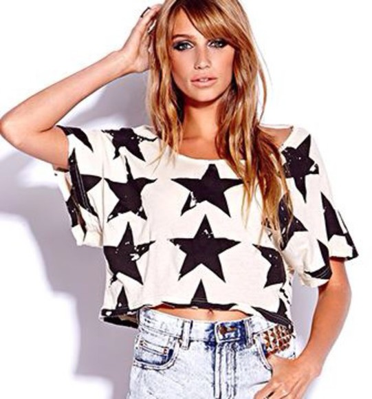 t-shirt stars crop tops black and white