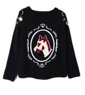 black sweatshirt,black sweater,embroidered sweater,horse head embroidery,embroidered detail,www.ustrendy.com