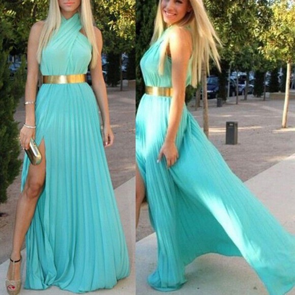 metallic formal aqua cocktail slit pleated dress