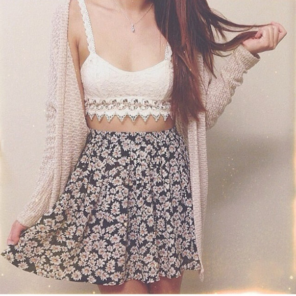 skirt liberty jacket t-shirt lace perfecto tank top floral daisy