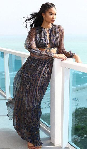 dress maxi dress chanel iman model summer dress