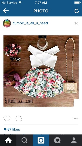 tank top whit crop tops skirt floral cut-out