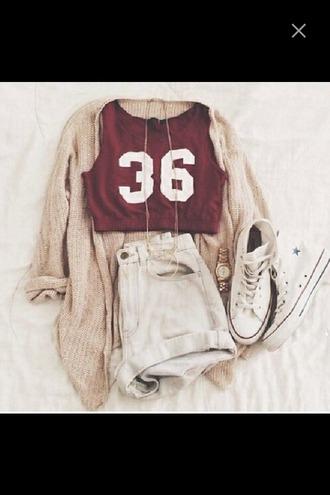 shirt 36 converse crop tops cardigan knitwear high waisted shorts shorts necklace top