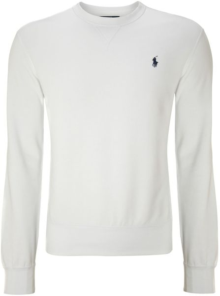 Polo Ralph Lauren Crew Neck Sweater in White for Men | Lyst