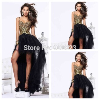 Aliexpress.com: compre pescoço namorada frisada de ouro lantejoulas natural cintura assimétrica vestidos de baile 2014 new hi low vestido para prom party de confiança vestir