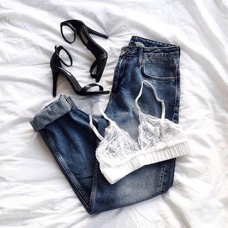 underwear bralette lace bralette jeans mom jeans heels black heels