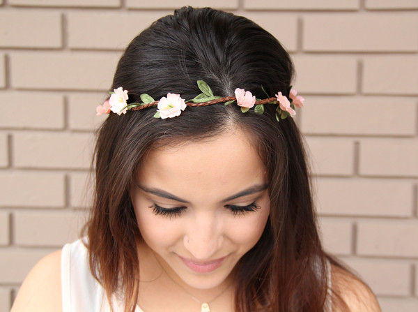 Peach wild flower headband