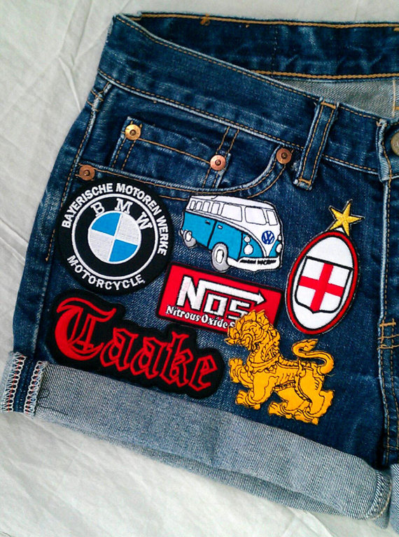 Patched Denim / Reworked Vintage Cut off Jean Shorts with Patches / Vintage Jean Shorts 29 Waist