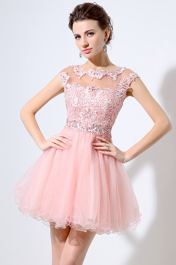 dress, short prom dress, tulle dress, lace applique dress, pink ...