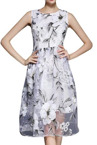 dress voile a line sundress flowers
