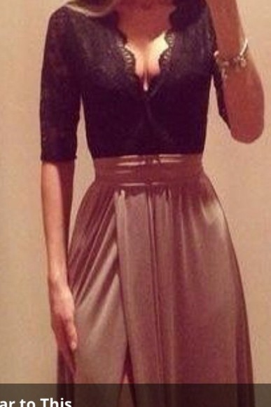 skirt maxi skirt slit skirt black lace shirt