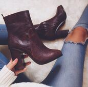 shoes,red,dark red,heels,fashion,style,snake skin,snake print,boots,desperate for this,desperate,jeans,girl,women,white,skinny jeans,skinny,ripped jeans,ripped knee jeans,animal print high heels,winter boots,leather boots,heel boots,burgundy shoes,burgundy