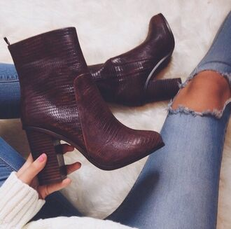 shoes red dark red heels fashion style snakeskin snakeskin print boots desperate for this desperate jeans girl woman white skinny jeans skinny ripped jeans ripped knee jeans