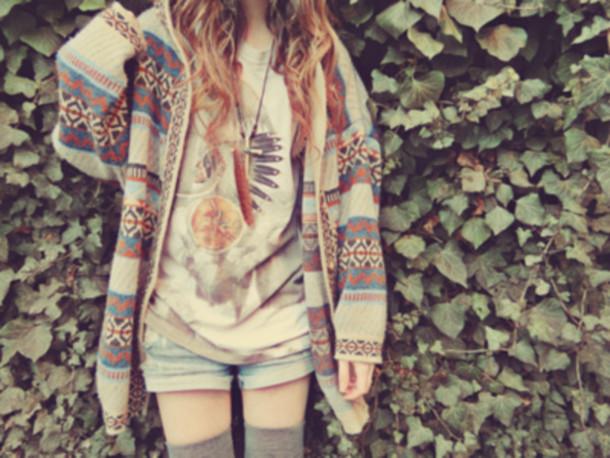 sweater indian hippie vintage knitwear knitwear shirt cardigan aztec multicolor t-shirt