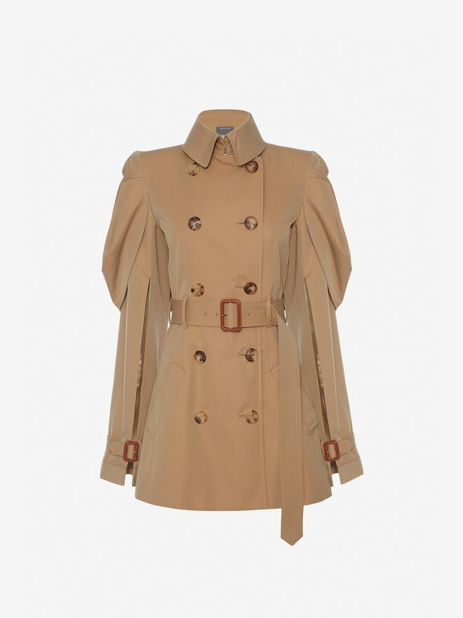 ‎Women‎'s ‎Beige ‎ ‎Shell Sleeve Trench Coat ‎ | Alexander McQueen