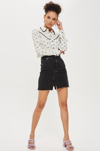 skirt denim skirt denim mini midi black