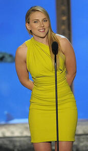 scarlett johansson,yellow dress,yellow,one shoulder,party dress
