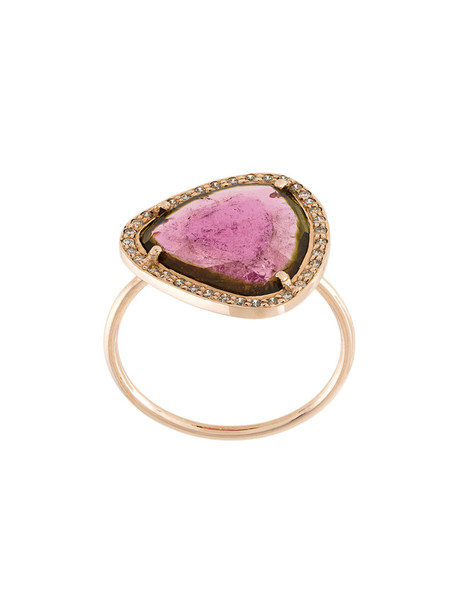 triangle women ring gold purple pink jewels