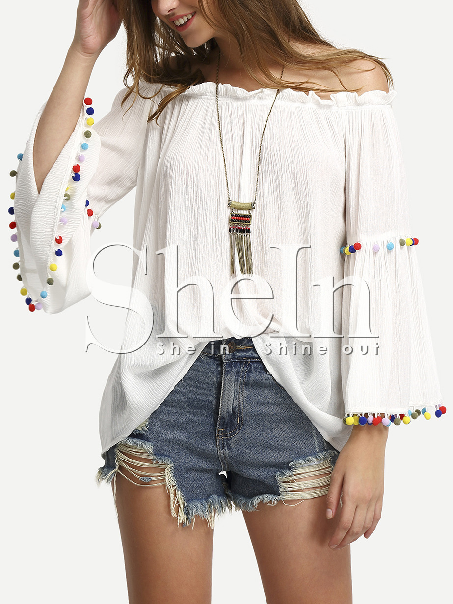 White Off The Shoulder Colored Pompom Trim Blouse -SheIn(Sheinside)