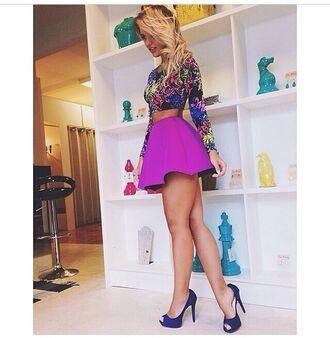 skirt summer outfits summer top purple short skirt top t-shirt shoes little black dress neon high waisted blouse mini skirt purple skirt shirt long sleeve crop top multicolor crop tops floral