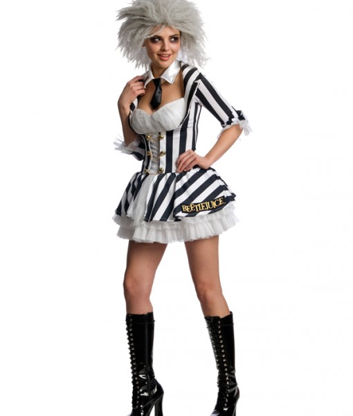 Adult Miss Beetlejuice Outfit Fancy Dress Costume Sexy Halloween Ladies Womens | Amazing Shoes UK