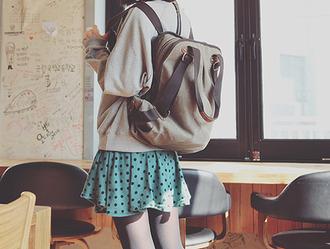 bag kpop ulzzang canvas backpack polka dots skirt korean fashion aegyou