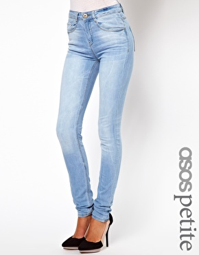 Asos petite ridley supersoft high waisted  ultra skinny jean in ice blue  vintage wash at asos